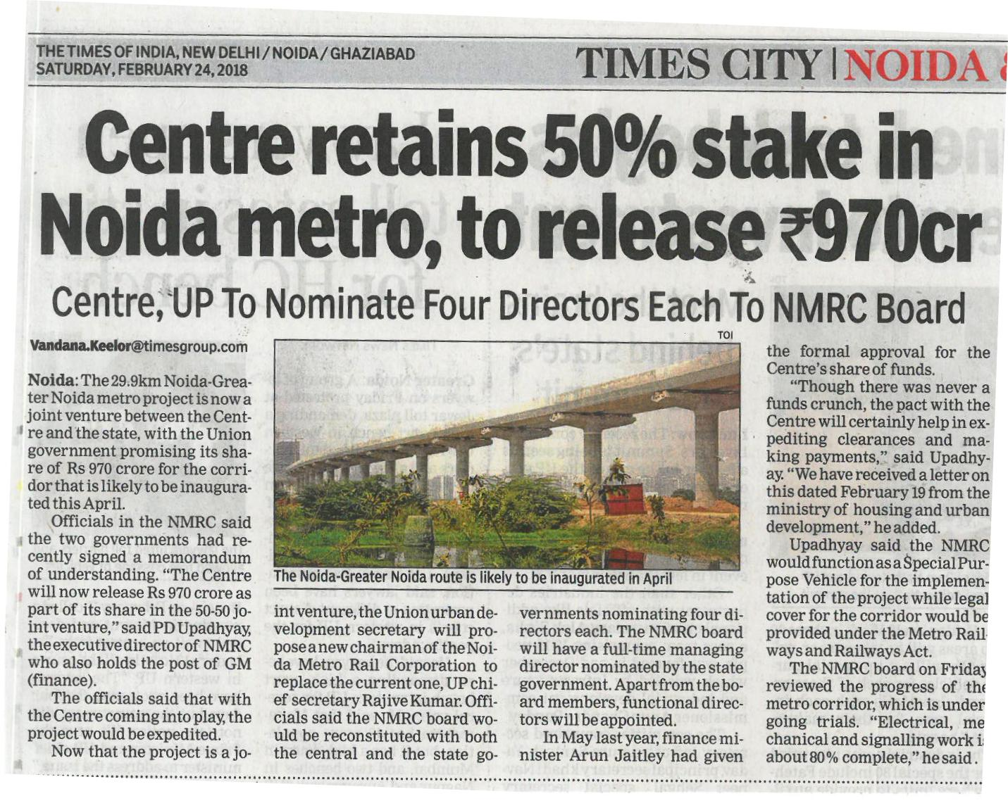 Centre retains 50% stake in Noida metro, to release Rs 970 cr.