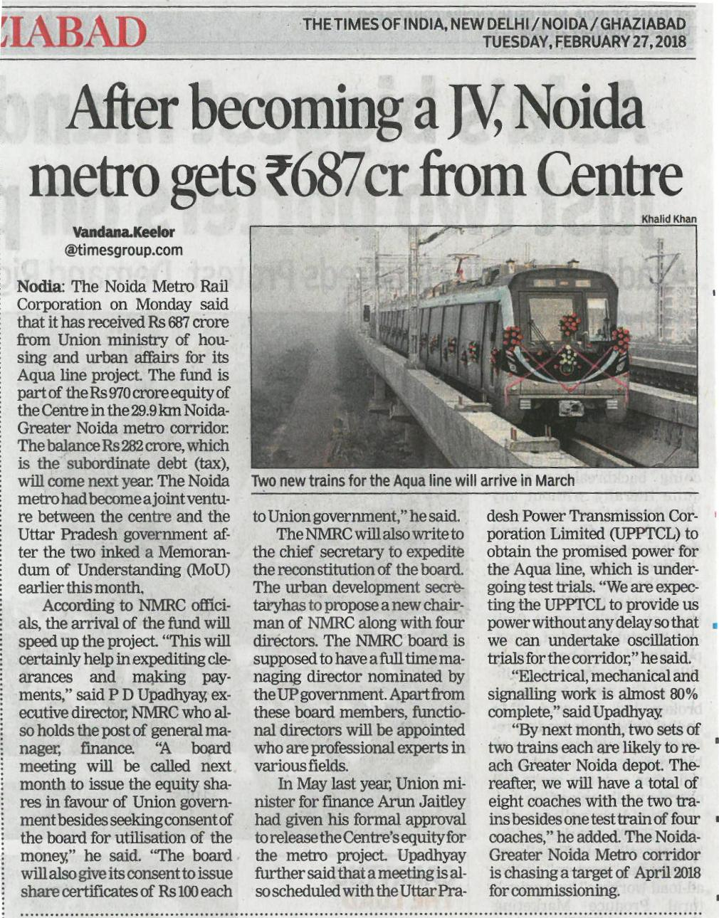 After becoming a JV, Noida metro gets Rs.687 from Centre.