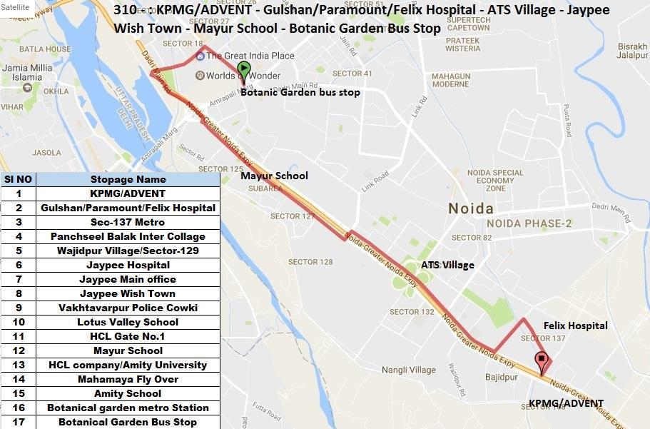 Route Chart of city bus Noida Metro Rail Corporation Ltd