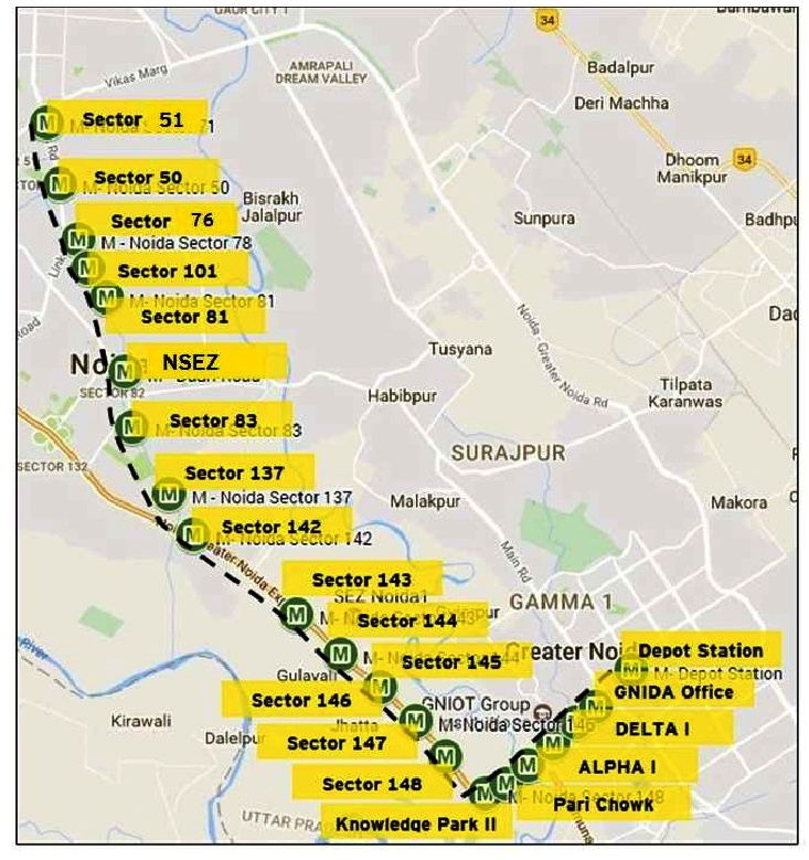 Noida Map Sector Wise Noida Metro Rail Map  Noida Metro Rail Corporation Ltd.